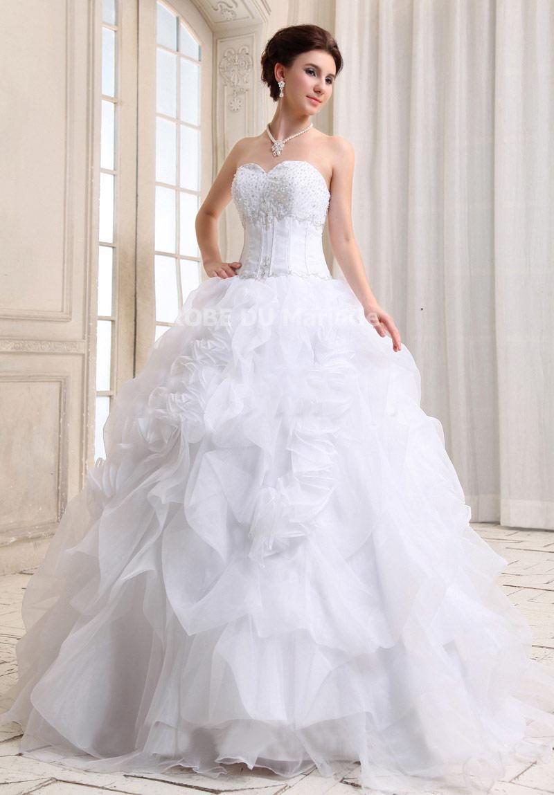 Extrêmement Robe bustier de mariée romantique sans bretelle perles multi  LE66