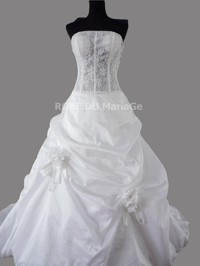Loading zoom. Magnifique robe de mariée princesse bustier bouillonnée