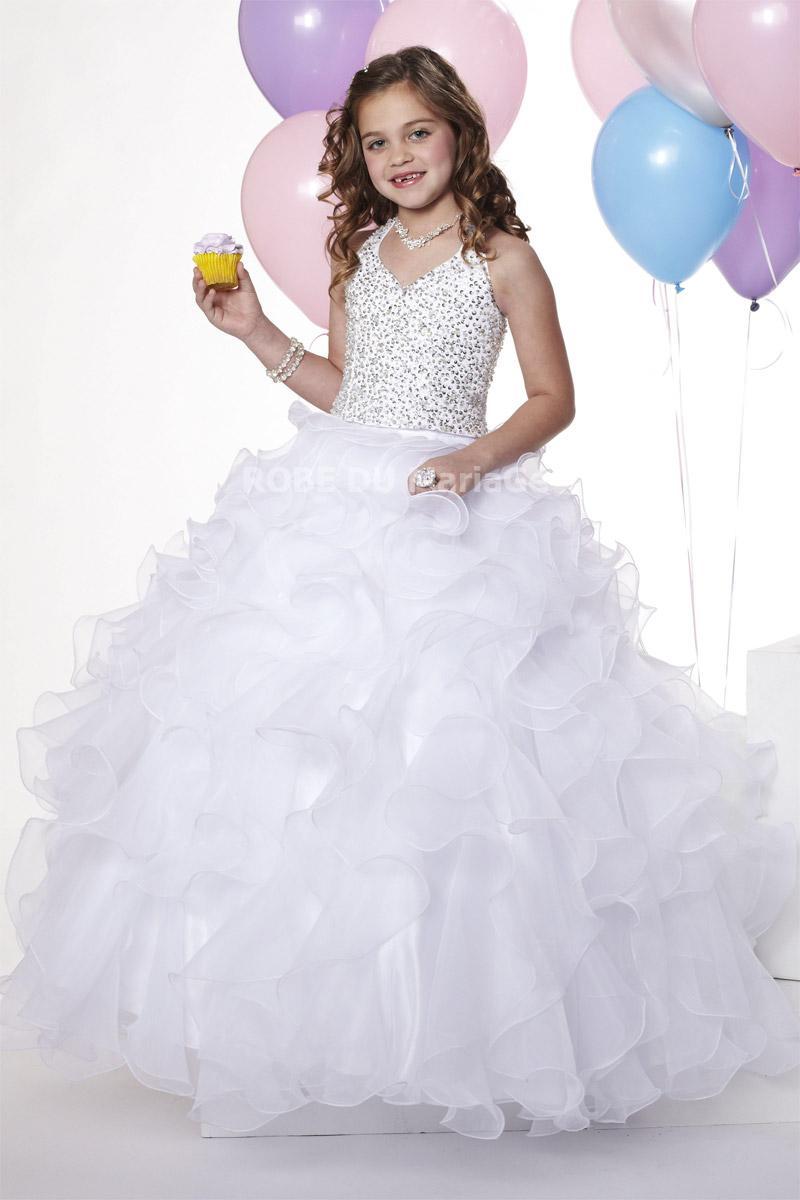 Robe ample col au cou appliques belle robe cortège enfant