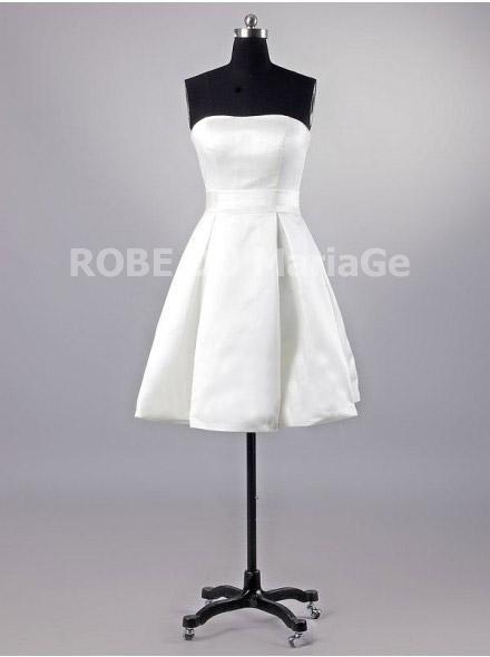 Simple robe de mariée vintage sans bretelle