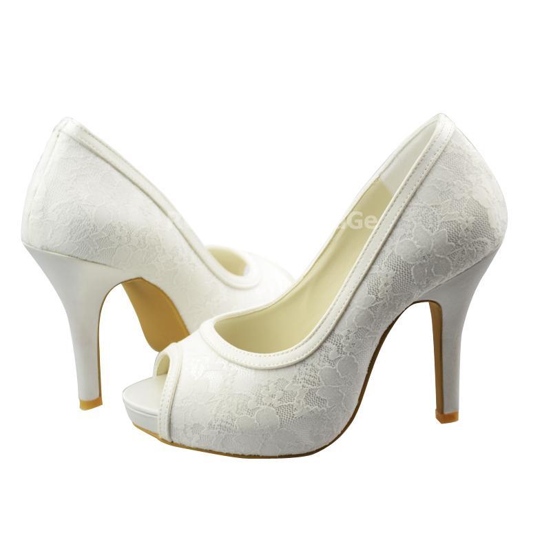 5d2fb72fc681 Escarpin chaussure de mariée bout ouvert dentelle   ROBE204961 ...
