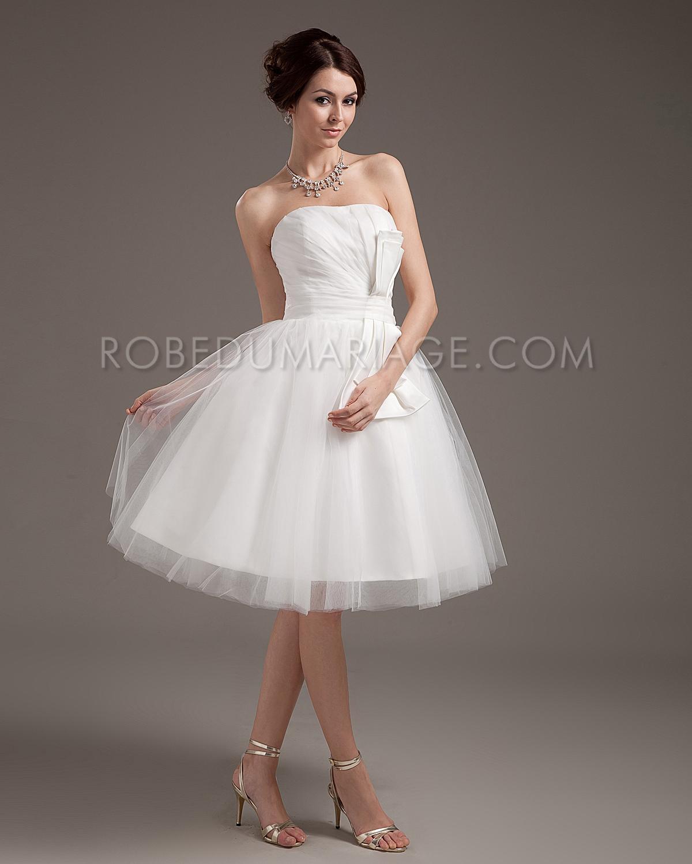 Sans bretelle robe de mariage civil bustier taffetas froncée
