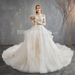 Robe de mariage princesse manches courtes col rond robe luxe