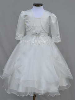 Adorable robe de communion organza satin fleur satin