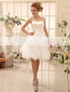Robe de mariée courte en satin avec ruban sur la taille Laçage au dos
