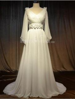 Robe de mariée grande taille manches longues en chiffon avec fleurs pas cher