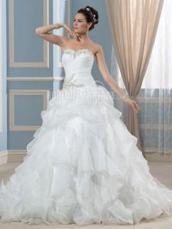 Robe de mariée princesse avec un col en cœur robe bustier avec paillettes