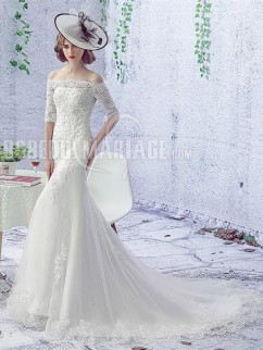 e32f802597e Robe de mariée sirène avec manches mi-longues Robe à traîne courte