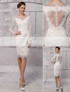 9995aa988ea Col rond robe de mariée civile en dentelle avec manches longues