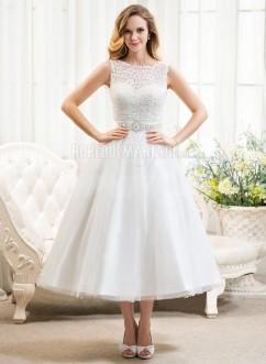 Dentelle robe de mariée pas cher col rond satin robe sur mesure