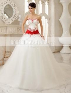 Robe de mariee bustier rouge et blanc