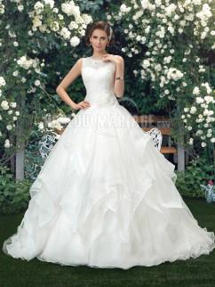 1ae1eae7dfe Robe de mariée en dentelle et organza jupe ample pas cher