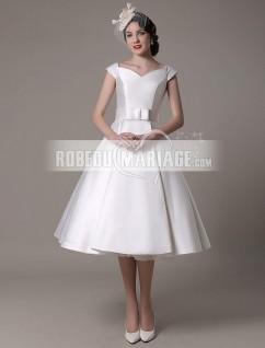 Col en V robe de mariée civile en satin avec ceinture pas cher