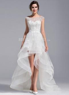 Col en bateau robe de mariée longueur asymétrique en dentelle pas cher