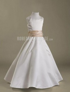 Robe de communion satin ceinture col en u