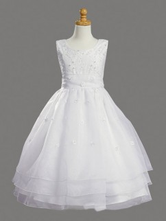 Robe mariage enfant col rond broderies multi-couches organza