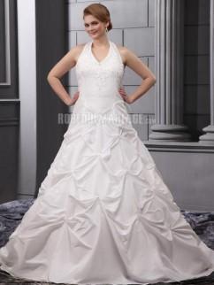 8faccbc1d43 Sans manches robe de mariée de grande taille en satin ornée de broderies av