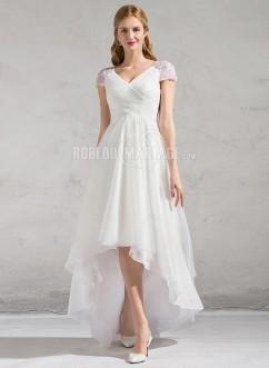 e1c1f9efc34 Manches courtes col en V robe de mariée longueur asymétrique en chiffon