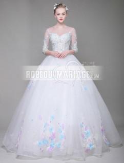 0bcbe0da0b25 Robe de mariée ornée d appliques colorés Robe avec manches