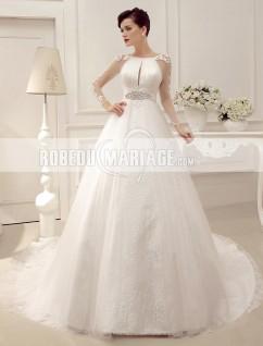 Robe de mariée princesse en manches longues jupe ample avec ceinture
