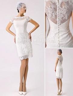 Col haut robe de mariée civile satin dentelle robe sur mesure