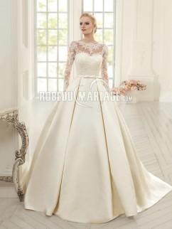 Robe de mariée princesse avec manches longues Robe à traîne courte f4297be25d6f
