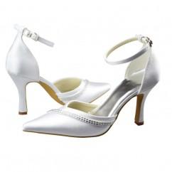 da54246ed2be Chaussures de mariée bout pointu découpée bride satin perles