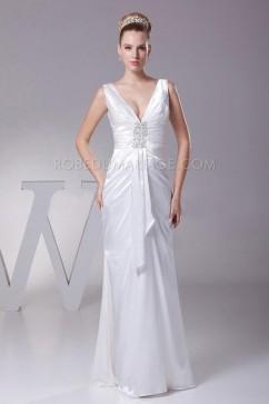 Robe de mariée fourreau col en V profond satin élastique grande taille