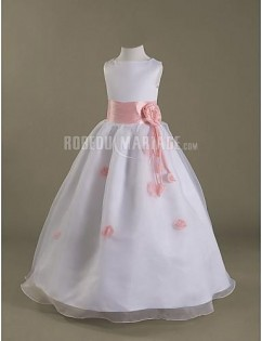 Col rond princesse fleur satin organza empire robe de communion