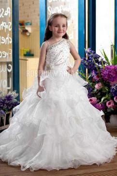 lgante robe boule longueur sol a volants perls robe cortge enfant - Robe Cortege Fille Mariage