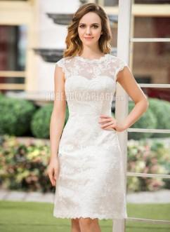 Col rond robe de mariée civile en dentelle et satin pas cher