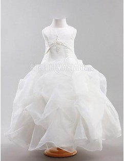 Adorable robe de communion satin organza applqiue col haut