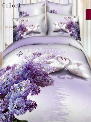 romantique 3d linge de lit d cor avec les cygnes pas cher robe2012779. Black Bedroom Furniture Sets. Home Design Ideas
