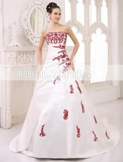 En couleur robe de mariée broderies perles en satin pas cher