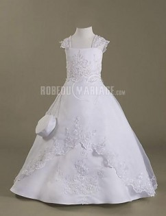 A-ligne robe de communion applique satin organza