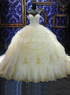 Robe de mariée princesse bustier sans bretelle paillettes en organza