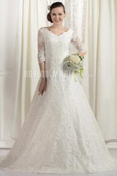 844b0438f8d Col en V robe de mariée grande taille en dentelle à manches mi-longues