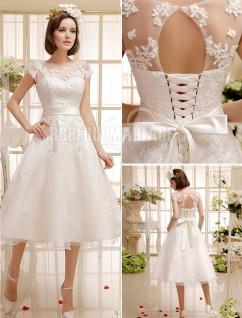 93adcd35d79f0 Col montant robe de mariée civile ceinture satin dentelle