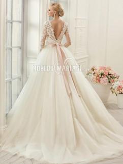 Col rond robe de mariée 2017 3/4 manches en dentelle et tulle avec ruban