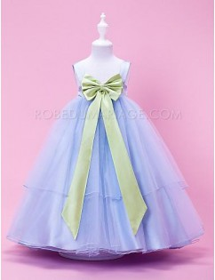 Robe cortège enfant organza noeud ruban multi-couches