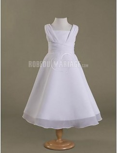 Adorable robe de communion satin organza ruche col en u