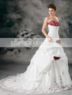 9beec48d27a Bustier robe de mariée princesse fleurs broderies en taffetas