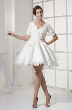 Dentelle robe de mariée civile col en v courte taffetas