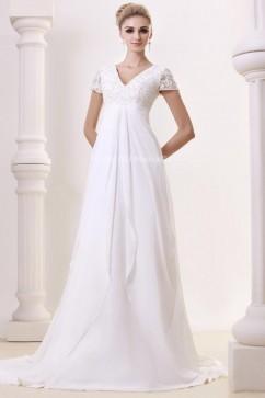 8a92a7fb0ce Manches courtes robe de mariée empire col en V en chiffon ornée dentelle