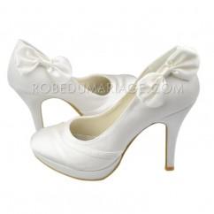 a9ad03a12f12 Noeud papillon haut talon satin plateforme chaussures de mariée
