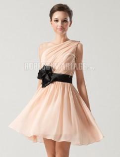 robe minie de cocktail en chiffon une paule asymtrique - Robe De Tmoin De Mariage Pas Cher