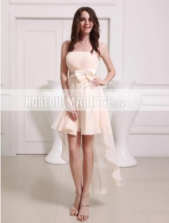 Robe de cocktail bustier en chiffon noeud papillon asymétrique