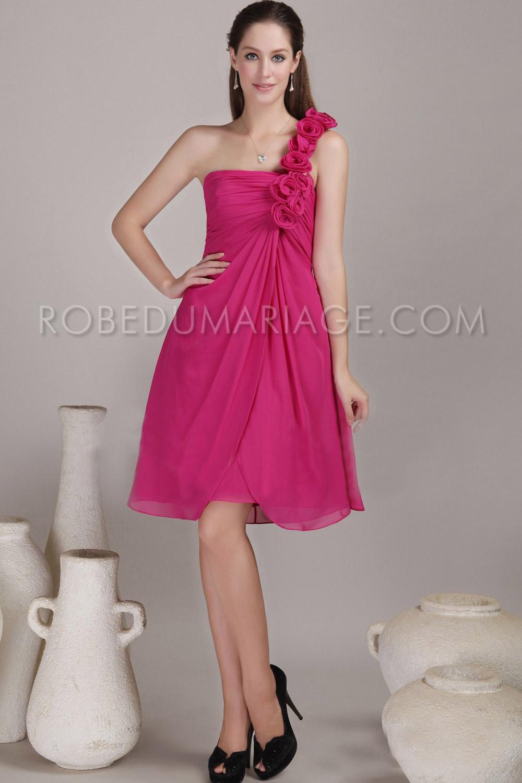 robe demoiselle d 39 honneur bretelle asym trique fleurs chiffon longueur aux genoux pas ch re. Black Bedroom Furniture Sets. Home Design Ideas