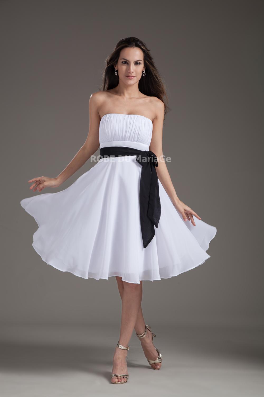 robe de cocktail bustier sans bretelle chiffon ceinture longueur aux mollets robe204596. Black Bedroom Furniture Sets. Home Design Ideas