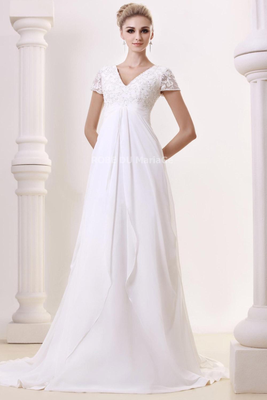 Manches courtes robe de mariée empire col